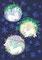 卯年の年賀状の絵柄は松・竹・梅の円にいる三羽のうさぎ。画材/和紙・岩絵具