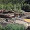 Noch aktive Goldsuche im Fluss