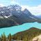 Der bekannte Peyto Lake mit seiner speziellen Form (wie ein Fuchskopf)