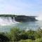 Links die amerikanische Seite der Niagarafälle, rechts die kanadischen Niagarafälle.