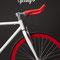 Bianco, nero e rosso in una foto in interni della bici scatto fisso Bullhorn