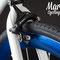 Bicicletta bixed Aqua. Particolare cerchio anodizzato blu e freno Z-Star