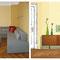 Sofa nach Maß, Neuanfertigung mit Kissen und Pouf / Flexleuchten / Entwurfsskizze: Sideboard aus den 50ern mit Bild und Stehleuchte
