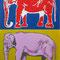 二頭のゾウ (油彩)