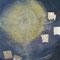 Vollmond – Gouache, Edelsteine & Blattsilber, 70 x 80 cm
