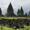 Yogyakarta. Prambanan, der grösste hinduistische Tempel Indonesiens. Das Hauptgebäude ist 47 m hoch.
