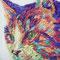 猫  F0(180x140mm)キャンバス 刺繍、アクリル