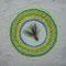 「孔雀の羽結晶」  F0  キャンバス(180×140mm)       刺繍、メディウム