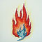 「炎」F0キャンバス特厚、刺繍