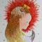 「fox」 SMキャンバス(158×227mm)  刺繍、アクリル、油彩