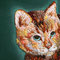 「CAT」 SMキャンバス、刺繍、アクリル