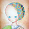 「◯◯なひと」          F3キャンバス     刺繍,油彩,色鉛筆
