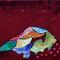 「赤山」 SMキャンバスにサテン地、刺繍、アクリル