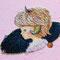 「羊ガール」 F0キャンバス(180×140mm)、刺繍、アクリル、メディウム