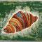 「クロワッサン」  F0 キャンバス(180×140mm)   刺繍、アクリル、メディウム