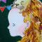 「MARIKOとライオン」  F0キャンバス  刺繍、アクリル、色鉛筆