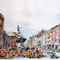 Hans Wittl: Buntes Treiben um den Karlsbrunnen auf dem Aachener Markt