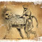 Mère et fille (Singes Tanzanie) - Carte vœux cabinet Vétérinaire C. Valentin Nancy-Jarville-La Malgrange - Crayon noir sur papier matière - 18 x 13 cm - 2016 <br><br>Illustration . dessin . animalier . animal