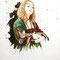 Adèle La Dame à l'hermine - Portrait encre couleur et crayon noir sur papier - 50 x 70 cm - 2017<br><br>Illustration . dessin . animalier . costume . chat