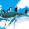 Après les glaçons - Maquette à l'acrylique sur papier - Projet pour fresque - 50 x 25 cm - 2008<br><br>Illustration . dessin . animalier . animal . baleine . manchot . humour . ours blanc