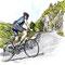 Ascension col vosgien - Illustration Gazette de la Schlucht N°9 - Encre couleur et trait noir sur papier - 2016<br><br>Illustration . dessin . velo . cycliste . sport