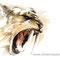 Smilodon (Tigre à dents de sabre) - Technique mixte sur papier - 50 x 40 cm - 2016<br><br>Illustration . dessin . animalier . animal