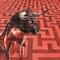 Minotaure - Acrylique et crayon pastel sur papier rouge - 50 x 50 cm - 2017 <br><br>Illustration . dessin . animalier . animal . mythologie . taureau . demi-dieu