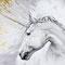 Licorne - Crayon noir, acrylique blanche et or sur papier - 80 x 60 cm - 2017<br><br>Illustration . dessin . animalier . animal . légende . mythologie