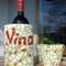 Ensemble Weinbehälter & Übertopf (Höhe ca. 16cm & 9cm) grün/rot