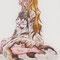 12色目 焦茶 自らが使う魔力の炎で焦げてしまった純白のドレス。妹にはいつも勝てないという虚無と失望。透明水彩と少しだけ色鉛筆とパステル使用。クワーティ。