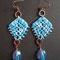 """orecchini in macramé """"PIZZI +"""" - materiale: cotone con perle di vetro. Venduti"""