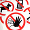 Aufkleber Verbots- und Gebots-Hinweise