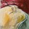 Terres mêlées – Ocre, 2010. Encre de Chine, pigments et sable sur toile, format : 50 x 50 cm.