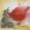 Terres mêlées – Rouge, 2010. Encre de Chine, pigments et sable sur toile, format : 50 x 50 cm.