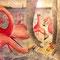 Flamingo Party - Aquarell, Bleistift
