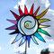 Gartenstecker bunte Sonne / Blume aus Tiffany Glas