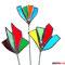 3 bunte Blumen Tiffany Glas Gartenstecker