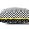 Kissen ZickZack 50 x 50 cm mit sichtbarem gelben Reißverschluss