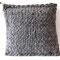 Strick-Filzkissen aus Schafsschurwolle grau 50 x 50 cm, Filzstoff aus 100% Merino-Wolle und Lederband 3 mm Dicke, 79 Euro, Sale 20 %