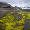 Towards Þórisdalur. Prestahnúkur with its distinct coloured Rhyolithic rocks can be seen on the left side.