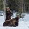 Bärenmutter mit ihren 2 jungen vom Vorjahr nach der Winterruhe