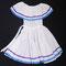 0042 Falda blanca y blusa con cintas azul y morado tamaño pequeñas