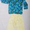 0019 Pantalon, camisa estampada con flores - naranja y azul, pequeña y mediana