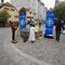 Malaktion am Wiener Platz vom Bayrischen Rundfunk