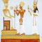 """Bühnenbild """"Ramses II. und Nefertari mit Opfergaben vor der Göttin Anuket"""" (3,3 x 3 m) - im Fundus"""