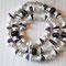 VERKAUFT! Halskette: Glassperlen, geätzte Glasspacer, Muschel, Amethyst, Rocailles; Länge ca. 50 cm, 35.-