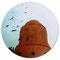 「鳥と塔、旋回」 木板、アクリル 直径18cm 2009