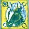 「馬の顔の版画」 紙、水性木版 10×9cm 2013