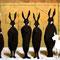 「五体の黒いロバとヤギ」 紙、アクリル、鉛筆 A2 2010