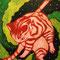 「宇宙猫」 キャンバス、アクリル 41×32cm 2004